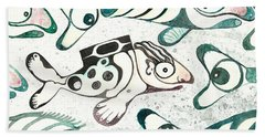Salmon Boy The Swimmer Beach Sheet by Melinda Dare Benfield