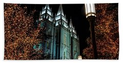 Salt Lake City Mormon Temple Christmas Lights Beach Sheet