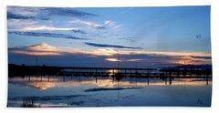 Salt Lake Marina Sunset Beach Sheet by Matt Harang