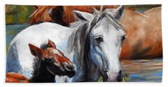 Beach Towel featuring the pastel Salt River Foal by Karen Kennedy Chatham