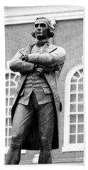 Samuel Adams Statue State House Boston Ma Black And White Beach Sheet