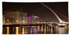 Samuel Beckett Bridge In Dublin City Beach Towel by Semmick Photo