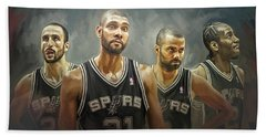 San Antonio Spurs Artwork Beach Towel by Sheraz A
