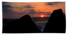 San Clemente Rocks Sunset Beach Sheet by Matt Harang