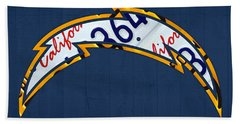 San Diego Chargers Football Team Retro Logo California License Plate Art Beach Towel