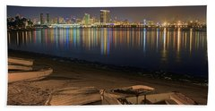 San Diego Harbor Lights Beach Towel by Gary Holmes