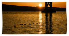 Beach Towel featuring the photograph San Francisco Bay Bridge Sunrise by Georgia Mizuleva