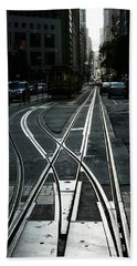 Beach Towel featuring the photograph San Francisco Silver Cable Car Tracks by Georgia Mizuleva