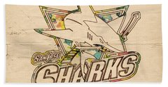 San Jose Sharks Vintage Poster Beach Towel by Florian Rodarte