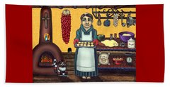 San Pascual Making Biscochitos Beach Towel