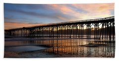 Beach Towel featuring the photograph San Simeon Pier by Vivian Christopher