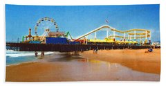 Sana Monica Pier Beach Sheet by Daniel Thompson