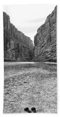 Sandals In Santa Elena Canyon Big Bend National Park Texas Black And White Beach Towel