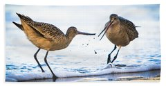 Beach Towel featuring the photograph Sanderlings Playing At The Beach by John Wadleigh