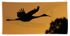Sandhill Crane In Flight Beach Towel