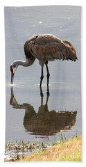 Sandhill Crane On Sparkling Pond Beach Towel