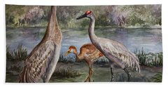 Sandhill Cranes On Alert Beach Towel