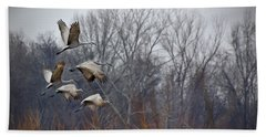 Sandhill Cranes Takeoff Beach Towel