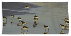 Sandpiper Sunset Reflection Beach Sheet by Susan Molnar