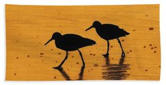 Sandpipers - At - Sunrise Beach Sheet by D Hackett