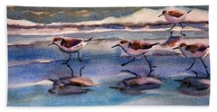 Sandpipers Running In Beach Shade 3-10-15 Beach Towel
