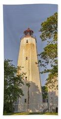 Sandy Hook Lighthouse Beach Sheet by Marianne Campolongo