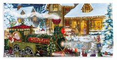 Santa Arrives In Rudolph Train Beach Towel