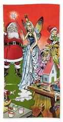 Santa Claus Toy Factory Beach Towel