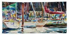 Beach Towel featuring the painting Santa Cruz Dock by Xueling Zou