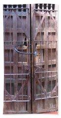 Beach Towel featuring the photograph Santa Fe Old Door by Dora Sofia Caputo Photographic Art and Design