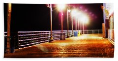 Santa Monica Pier At Night Beach Towel