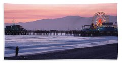 Santa Monica Pier Santa Monica Ca Beach Towel by Panoramic Images