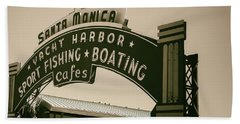 Santa Monica Pier Sign Beach Towel by David Millenheft