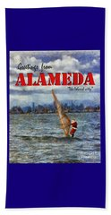 Alameda Santa's Greetings Beach Towel by Linda Weinstock