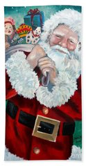 Beach Towel featuring the painting Santa's Coming To Town by Julie Brugh Riffey