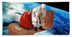 Santa's Flying Carpet Beach Towel
