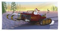 Santa's New Sleigh Beach Sheet by Ken Morris