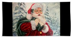 Santa's On His Way Beach Sheet by Julie Brugh Riffey