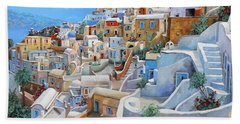 Beach Towel featuring the painting Santorini A Colori by Guido Borelli