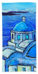 Santorini  Blue Beach Sheet by Ana Maria Edulescu