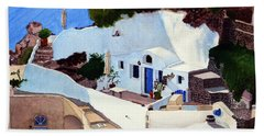 Santorini Cave Homes Beach Towel by Mike Robles