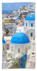 Santorini Oil Painting Beach Towel by Antony McAulay