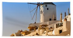 Santorini Windmill 05 Beach Sheet by Antony McAulay