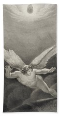 Satan Leaps Over The Walls Of Heaven Beach Towel