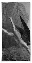 Satan Plunges Into The River Styx Beach Towel