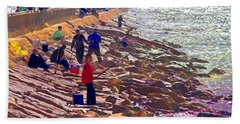 Beach Towel featuring the photograph Saturday Morning On The Surfside Jetty by Gary Holmes