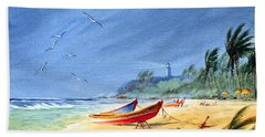 Saving The Fishing Boats - Maunabo Beach Puerto Rico Beach Towel