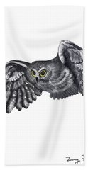 Saw-whet Owl Beach Towel by Terry Frederick