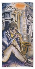 Sax Player, 1998 Wc On Paper Beach Towel