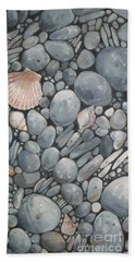 Scallop Shell And Black Stones Beach Sheet by Mary Hubley